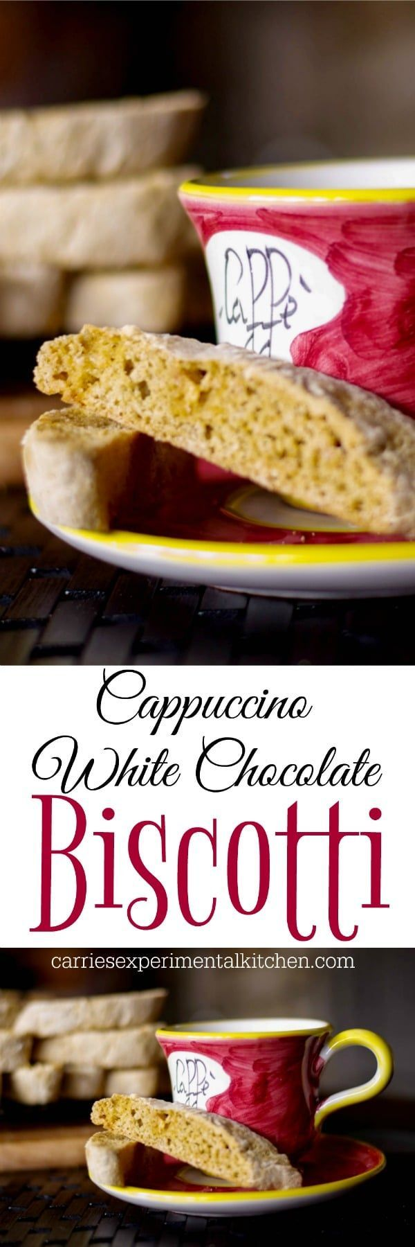 Cappuccino White Chocolate Biscotti combines the favorite Italian, crunchy cookie and cappuccino all in one. Perfect for snacking or holiday gift giving. via @CarriesExpKtchn #cookies #biscotti #baking #holidays