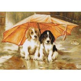 borduurpakket telpatroon Honden onder de paraplu (Couple under an Umbrella)  van Luca-s b550