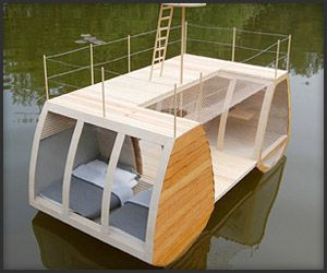 unique living space floats on water, providing sleep quarters for two, outdoor relaxation areas and even a bathroom. It's built like a catamaran, and can be paddled back to shore.