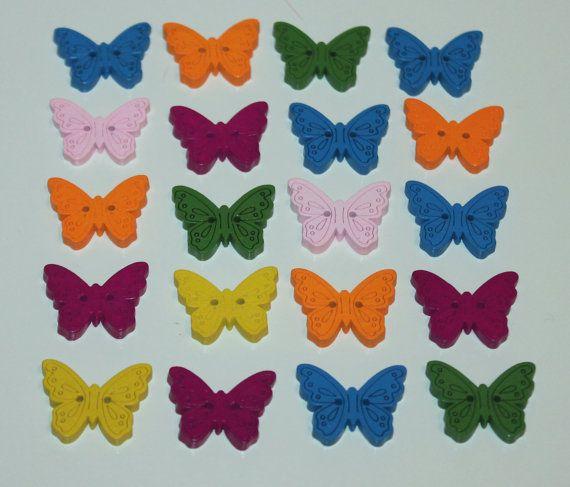 20 bottoni in legno a forma di farfalla arancio rosa blu verde viola-fuxia di Logofantasy