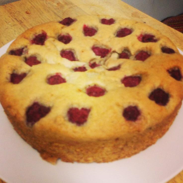 Vegan banana cake with raspberries