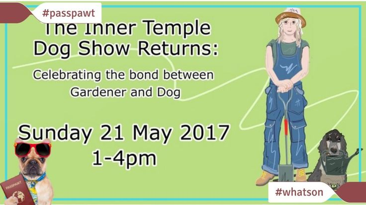 Whats On In Dogland  News  The Inner Temple Dog Show  The Inner Temple Dog Show Sun 21 May 2017 13:00  16:00 BST  Inner Temple Garden Crown Office Row (enter via Tudor Street) London EC4Y 7HL United Kingdom  This event is free  The Inner Temple Dog Show Returns: Celebrating the bond between Gardener and Dog at the award winning Inner Temple Garden. Registration for participating dogs is encouraged due to limited numbers. Please note that due to popularity of this event only two tickets per…