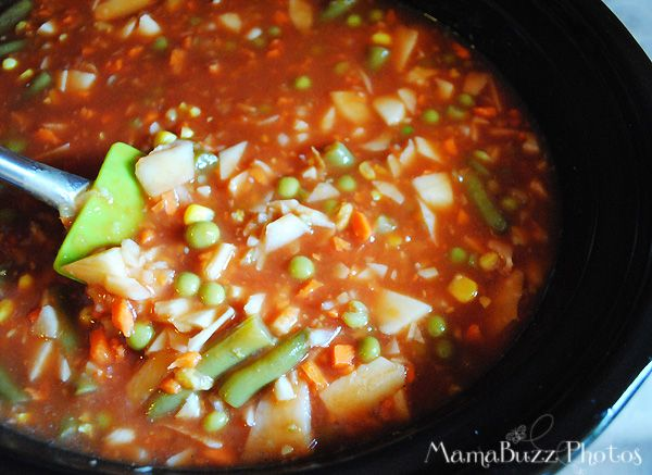 Vegetable Soup in Slow Cooker- made with V8 as the stock & lots of veggies. Came out more as a stew & could have used less beans & some meat, but it was very good.