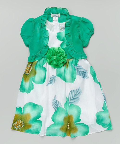 Take a look at the Mint Floral Dress & Shrug - Toddler & Girls on #zulily today!