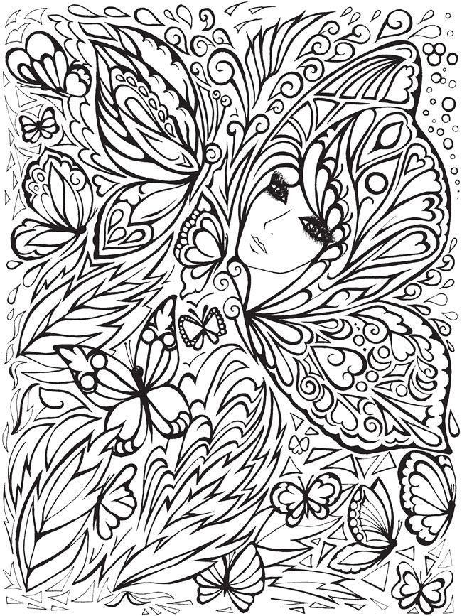 creative haven fanciful faces coloring book dover publications samples - Dover Coloring Books For Adults