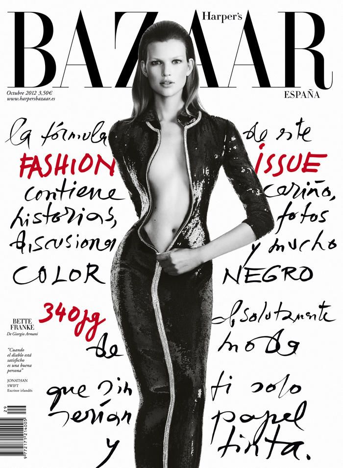 An Armani Clad Bette Franke Covers Harpers Bazaar Spain October 2012