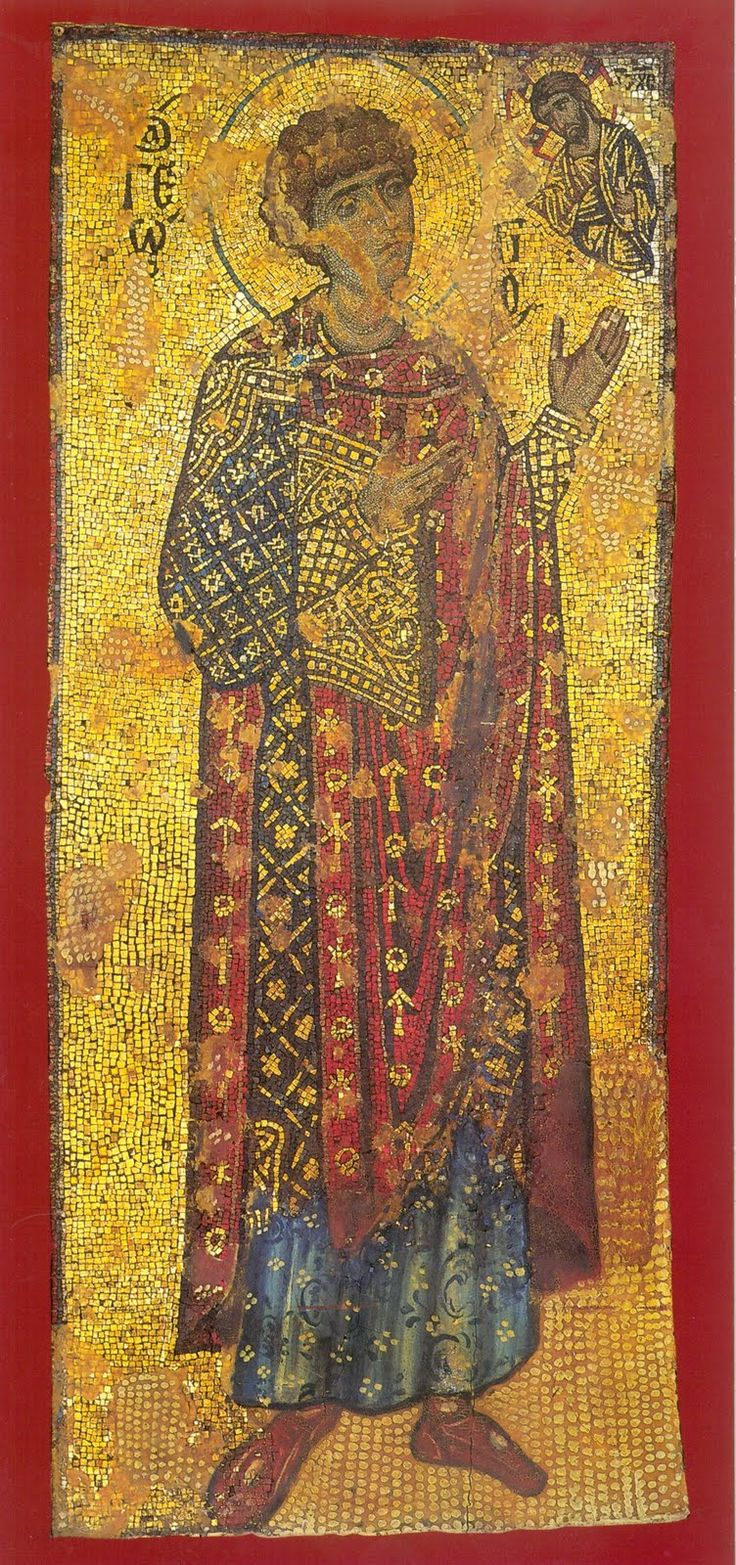 12-th century mosaic icon of st. George the Great Martyr Xenophontos Monastery
