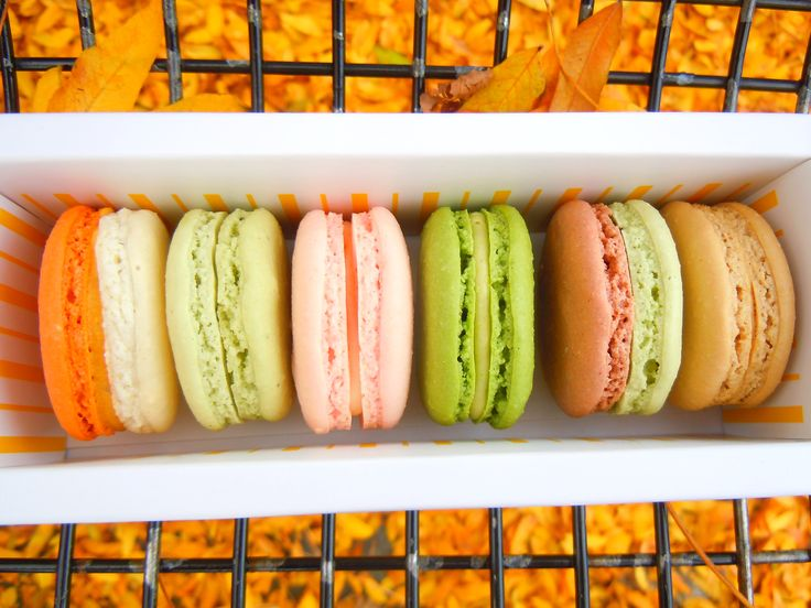Fall macaron delights at Butter Avenue in Toronto!  Pumpkin, green tea, strawberry white chocolate, pistachio wild cherry, matcha walnut and cafe au lait.