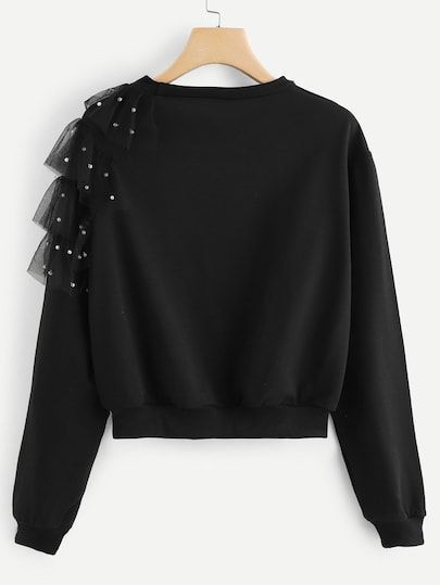 Contrast mesh beaded sweatshirt-Spanish SheIn (Sheinside)