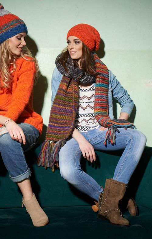 LANA GROSSA: Ragazza No 5. Modelle 29&30: Beanie (Everybody Unito) & Schal (Lei Color)