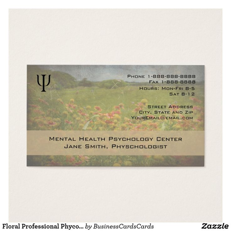 Floral Professional Psychologist Counselor Business Custom Check out more business card designs at http://www.zazzle.com/business_creations or at http://www.zazzle.com/businesscardscards
