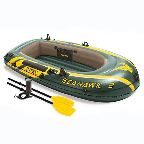 Intex Seahawk 2, 2-Person Inflatable Boat Set with French Oars and High Output Air Pump  Inflating or deflating is a breeze with two quick-fill Boston valves  two built-in fishing rod holders and gear pouch  Motor mount fittings are included for adding the Intex motor bracket and trolling motor  included - grab handle on the bow, all-around grab line, welded oar locks, oar holders and a repair patch kit  3 air chambers including inner auxiliary chamber inside hull  2 quick fill/fast de...