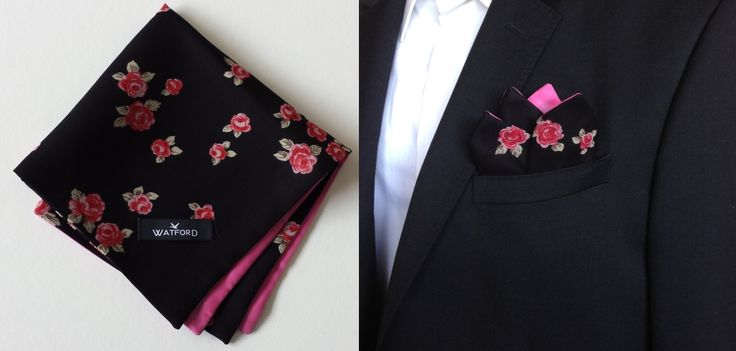 Rose print in Black Georgette with Pink lining - Pocket Square (Double-sided)