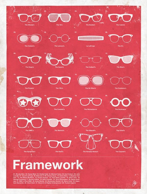 To celebrate the launch of Framegeek, EveryGuyed presents Framework, a series of posters highlighting the most iconic men's eyewear of the last 100 years.    The collection includes a compilation poster featuring 28 of the most iconic glasses from…