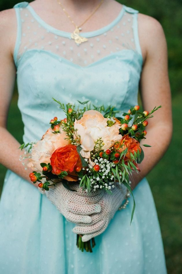 Aqua & Orange colour palette is cute, but not me.. I DO love the dress and gloves for the bridesmaids..