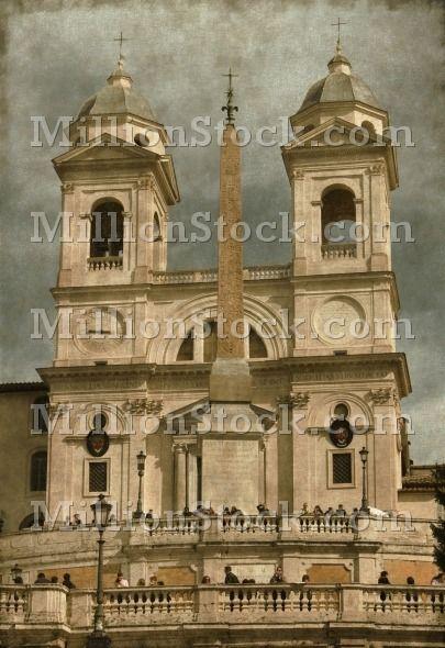 Vintage image of the Church of Trinita' dei Monti (Spanish Steps) in Rome, Italy