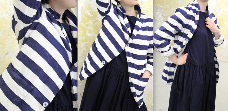 cotton-linen-silk stipe jacket and indigo cotton dress @caseycaseyshop #6ruedesolferino75007paris