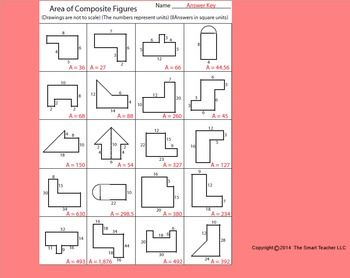 Area of composite shapes worksheet answers