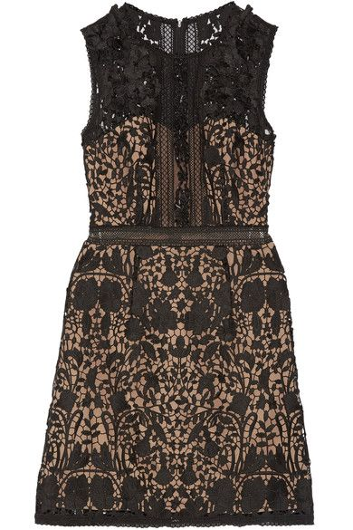 Marchesa Notte - Embellished Guipure Lace Mini Dress - Black - US12