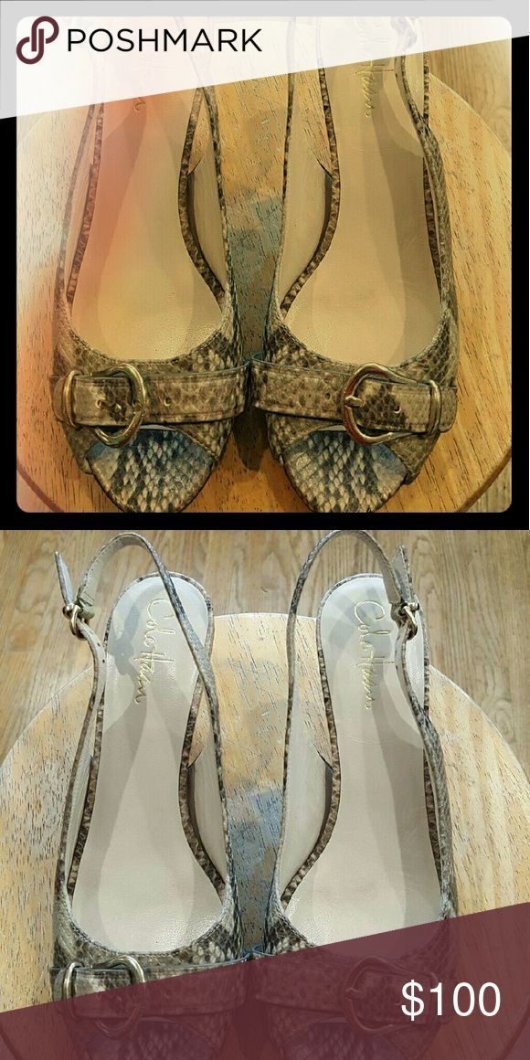 *NEW Cole Haan Snake Print Heels* Open toe sling-back heels by Cole Haan. Never worn! New but w/out box. Cole Haan Shoes Heels