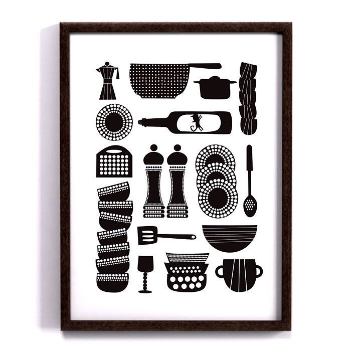 Kitchen tools, Kitchen print, Scandinavian design, retro art, Kitchen art, modern poster, Utensil art, cooking print, 30x40cm by Formanova on Etsy https://www.etsy.com/listing/194097848/kitchen-tools-kitchen-print-scandinavian
