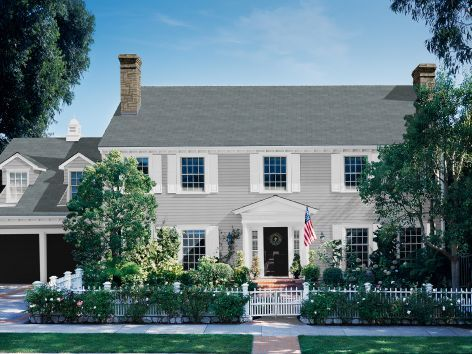 Colonial home gray siding white shutters black door - Grey and white house ...