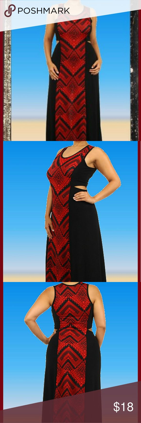 Plus Sexy Red black Aztec maxi a line dress 1x 2x New bandana chevron aztec red black maxi dress wirh sexy cut outs. Slimming print. Run one size small so 1x more of large and 2x more of 1x. 2x fit me and im 14 to 16. Pretty Young Thing  Dresses Maxi