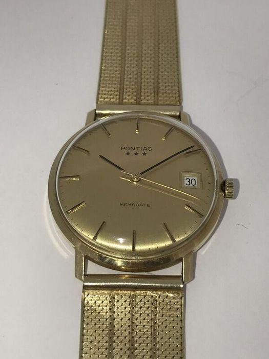 14 krtPontiac Memodate - Heren Horloge-jaren '80 datum 3 sterren  Vintage gouden horloge Pontiac Memodate heren horloge. Handopwind.Horloge band zowel kast nog in perfecte staat en is gestempeld met goud keuren 585. Lengte: 18 cmGewicht: 536 gramType: HerenUurwerk: HandopwindHorlogekast: Geelgoud Band: Geelgoud Glas: plexiglasDiameter: 32 mmStaat: zeer goed Horloge is in perfecte staat.Word aangetekend aan u verstuurd.  EUR 50.00  Meer informatie