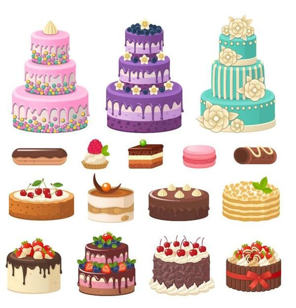 Free Eps File Set Of Cake Illustration Vectors Download