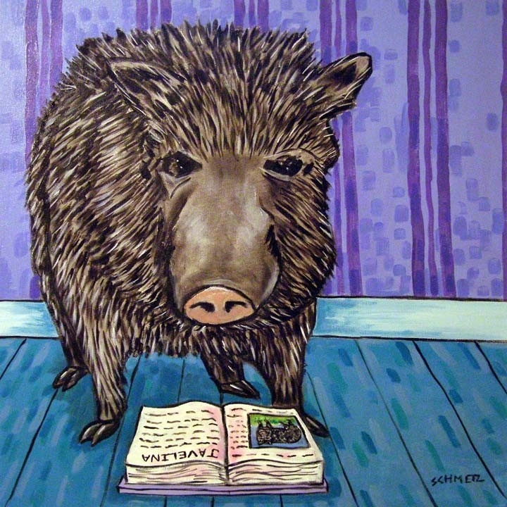 Javelina Reading Animal Art Tile Coaster by lulunjay on Etsy