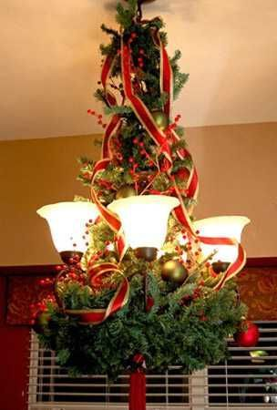 chandelier decorating with branches and ribbons