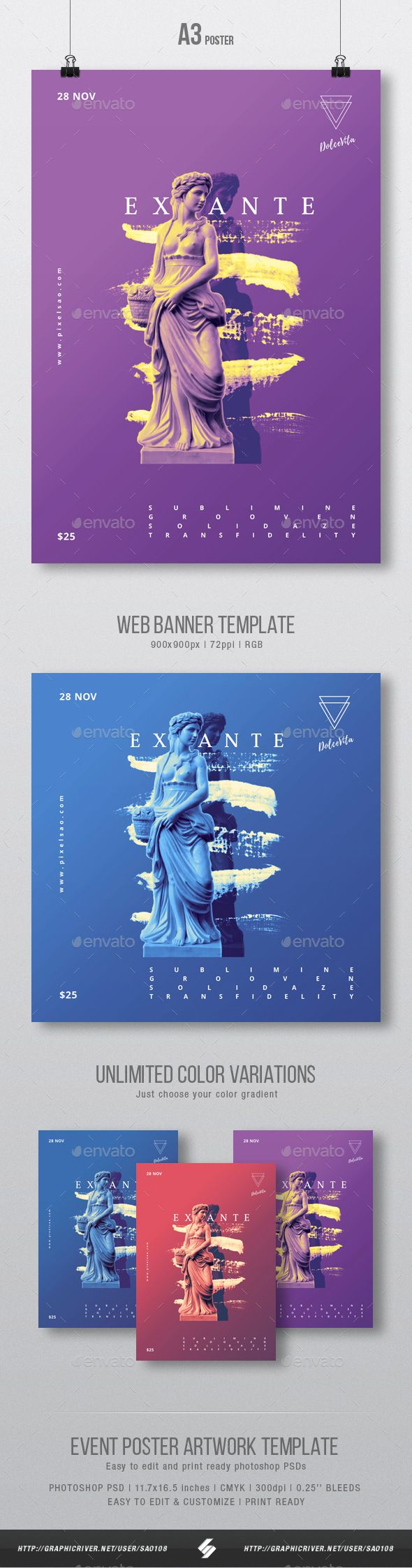 Ex Ante - Creative Party Flyer / Poster Artwork Template A3