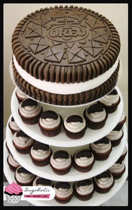 @Kathleen DeCosmo ♡❤ ❥ The Giant @Oreo #Cake  and #cupcakes to celebrate Oreo's 100th Birthday!!! Oreo celebrated it's birthday with Sugaholic's signature cupcake tower :D via  @Sugaholic Bakeshop {sugaholic.com}
