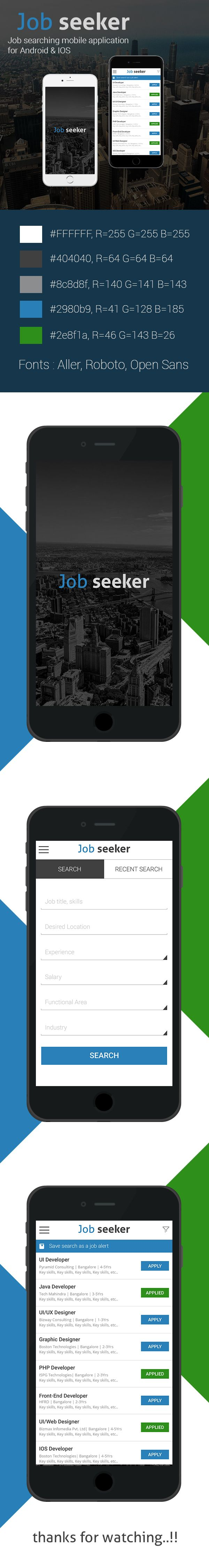 Job Seeker Mobile Appliction for Android & IOS on Behance