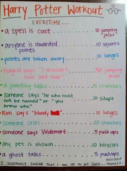 Harry Potter Workout :)Ideas, Fit, Movie Workout, Harry Potter Workout, Harrypotter, Harry Potter Marathon, Harry Potter Movie, Work Out, Health