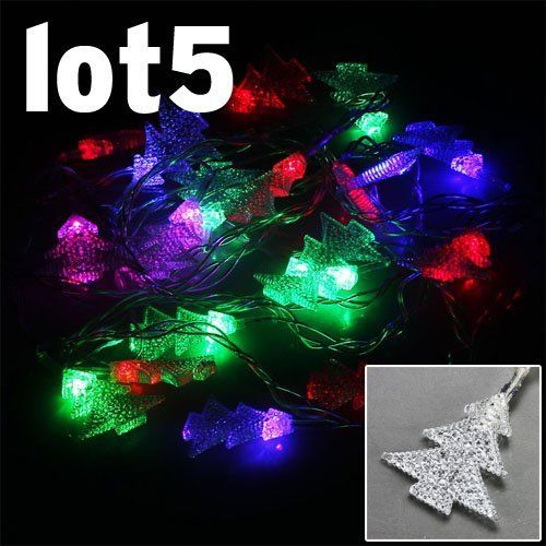 5x Christmas Light RGB 20 LEDS Christmas tree Shape Fairy String Lights for Wedding Party Xmas Decoration Christmas Ornaments Waterproof outdoor IP64 by A1store by A1store. $27.99. LED Qty: 20 LEDs bulbs, Christmas tree Shape. Working Voltage: 110V ,Power: 2W , Plug Type: US standard. Waterproof: IP64. Color: RGB, Clear String. RGB 20 LEDS Christmas tree Shape Fairy String Lights. Application:  Market Engineering lighting, architectural decoration, decoration of trees ...