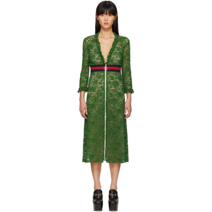 GUCCI Green Lace Dress. #gucci #cloth #