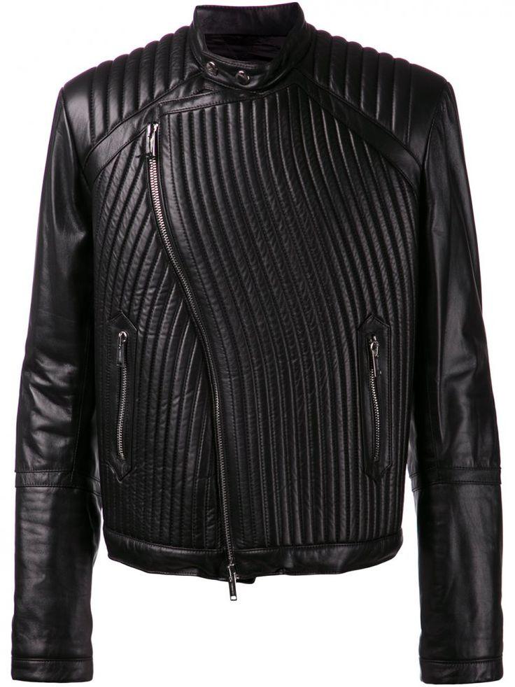 LES HOMMES - Ribbed Leather Moto Jacket - VE144L 755 0999 - H. Lorenzo