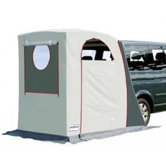 Rear cabin tent, fits onto the back of a suv or mini van.  not a bad idea