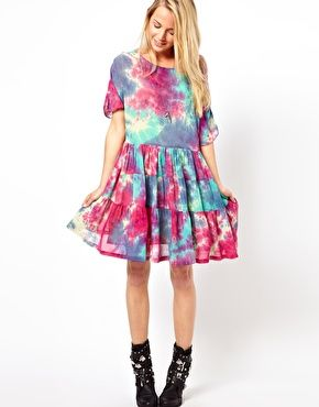 Image 4 of ASOS Smock Dress In Tie Dye With Tiers