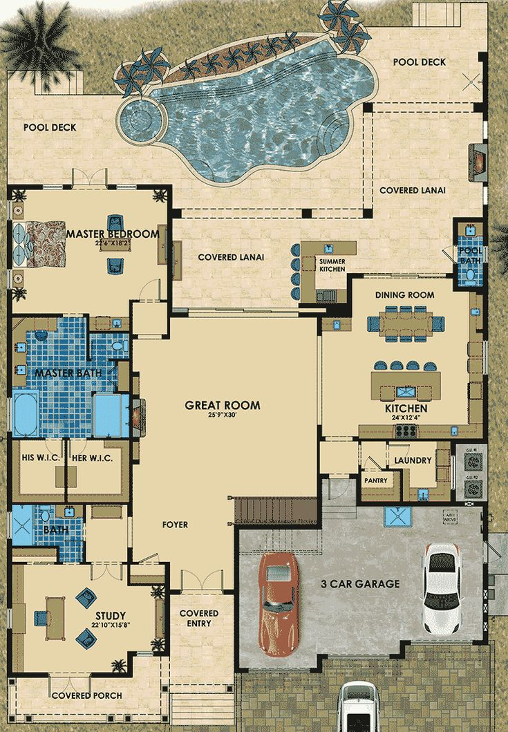 Florida House Plan with Six Bathrooms - 31840DN | 1st Floor Master Suite, 2nd Floor Master Suite, Bonus Room, Butler Walk-in Pantry, CAD Available, Den-Office-Library-Study, Florida, Luxury, MBR Sitting Area, Media-Game-Home Theater, PDF, Photo Gallery, Southern | Architectural Designs