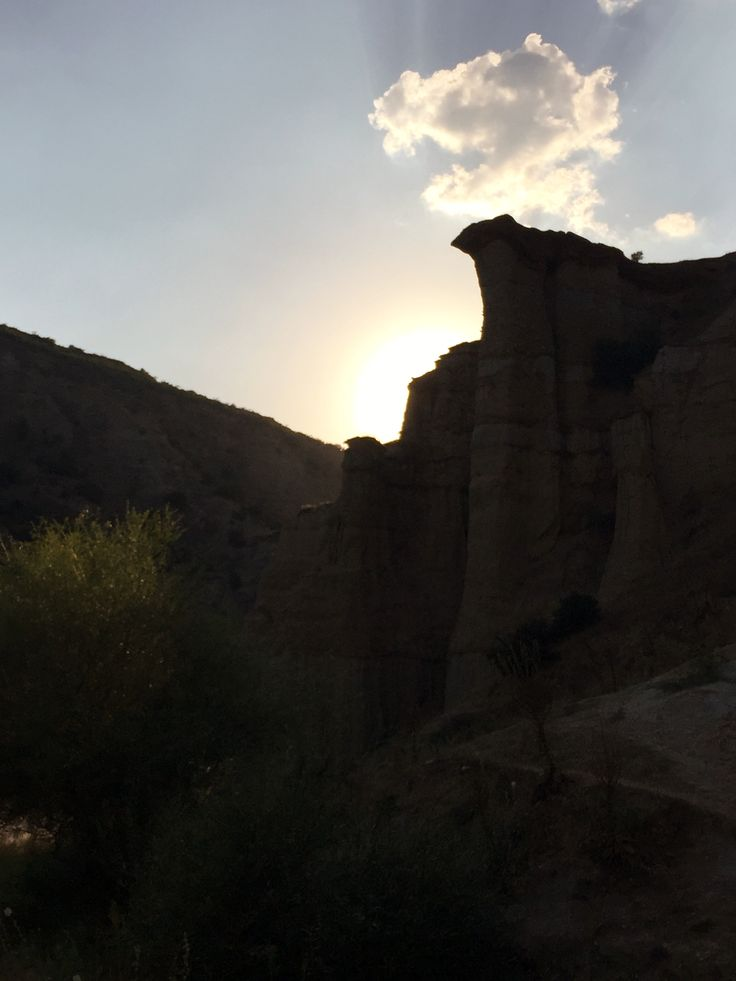 Sun is setting over the rocks while we still explore the Kula Geopark, Turkey