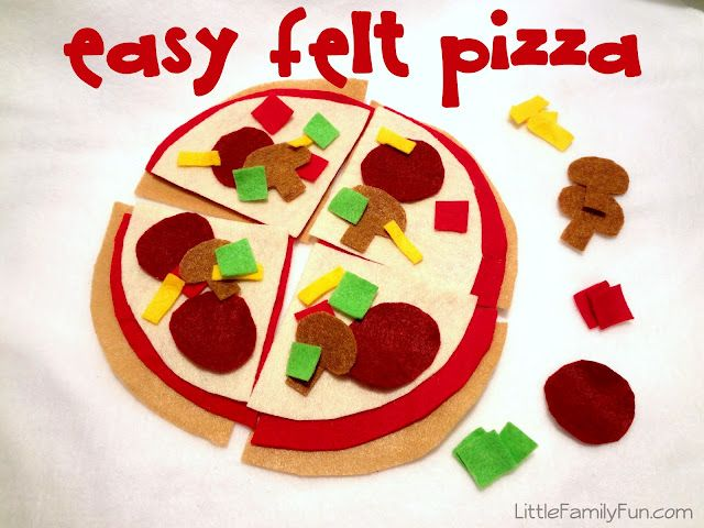 Felt pizza - Just made this for my kids and for my niece's birthday. The only thing I did different was to make a second crust piece that was whole and glued it to a round piece of cardboard so the whole pizza could be picked up and carried around and it would stay in place. Took me about 1 hour to make 2 pizzas including interruptions!!