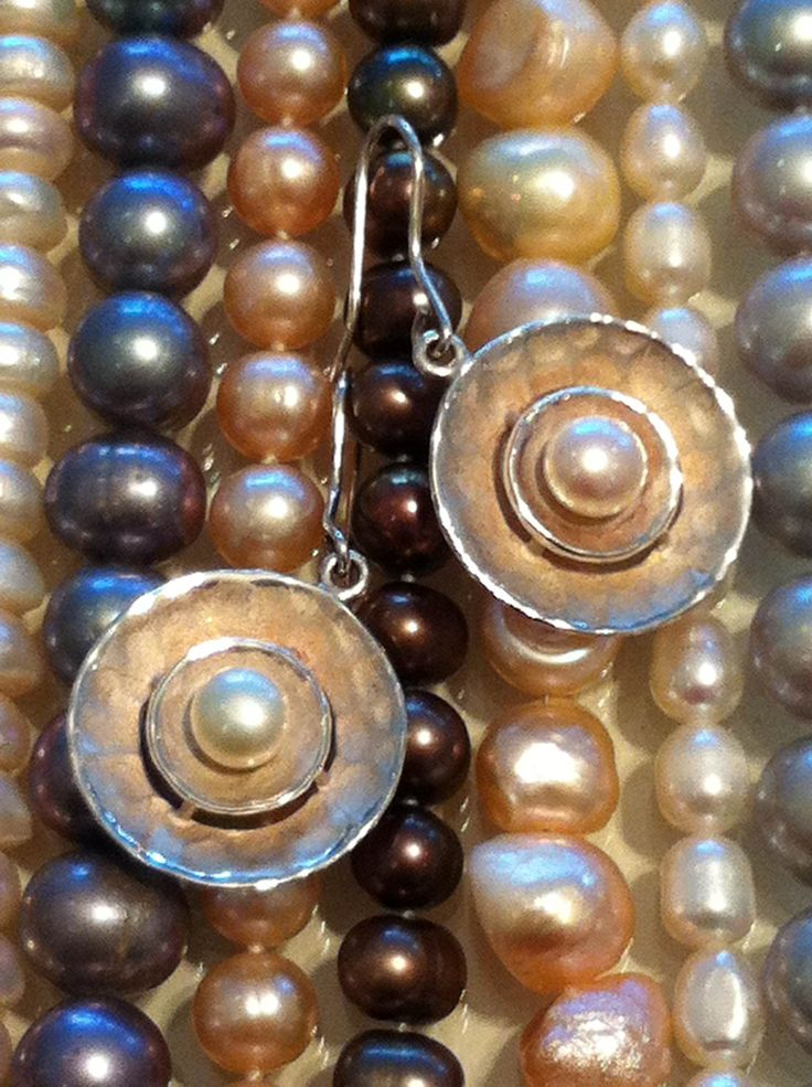 Sterling silver and sweet water pearl earrings