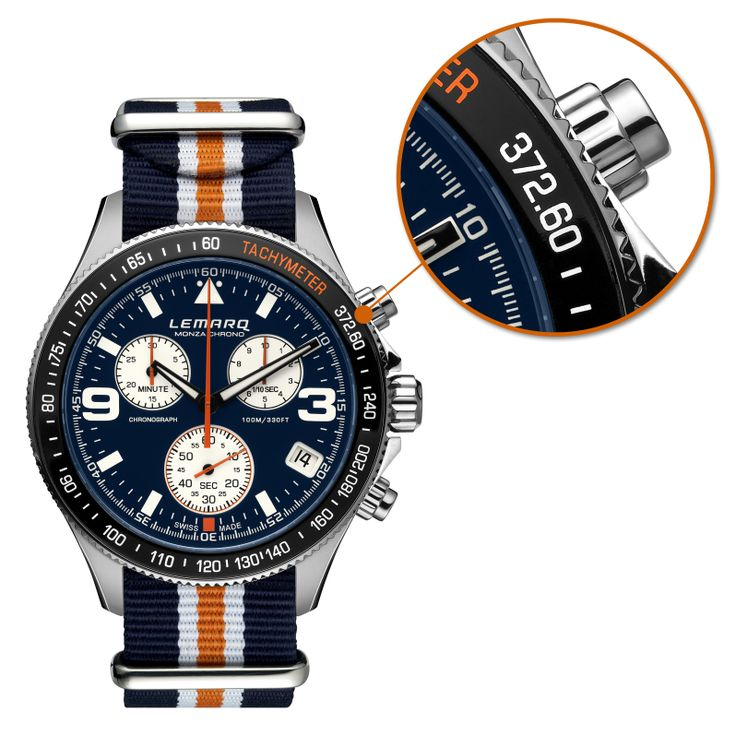 372.60 kph is the highest speed ever driven by a Formula 1 car on the Italian circuit of Monza. So far...  Here you see the details on the tachymeter of our Monza Chrono model in blue & white with matching NATO strap.  #watch #chronograph #racing #f1 #tachymeter #swissmade