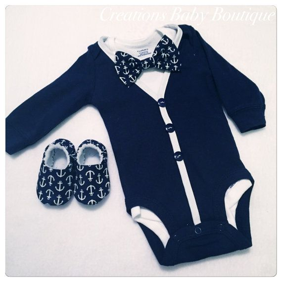 This set includes cardigan onesies , short sleeve white onesie with detachable bow tie and shoes This set is also available without the shoes This is the perfect gift for a baby boy , very cute set !  Thanks for visiting my shop