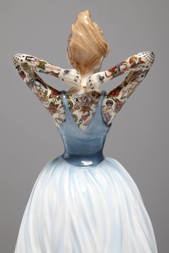 Jessica Harrison's porcelain figures w/hand painted tattoos and, uh, well some are a bit macabre.