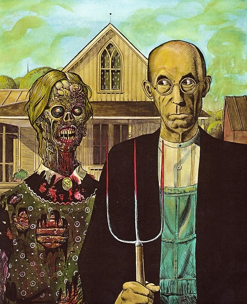 Gothic Zombie: Zombies Apocalyp, Art Close, Art Parodi, Gothic Zombies, Rob Zombies Art, Things Zombies, Gothic Parodi, American Gothic, Zombies Stuff