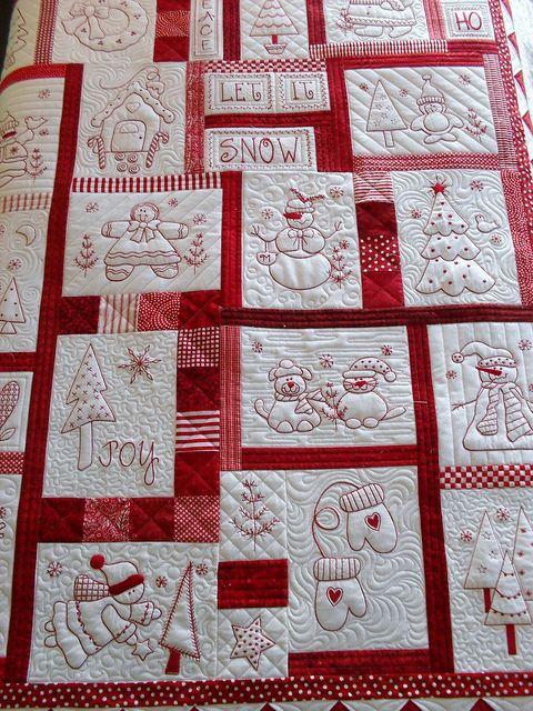 Christmas Redwork Quilt