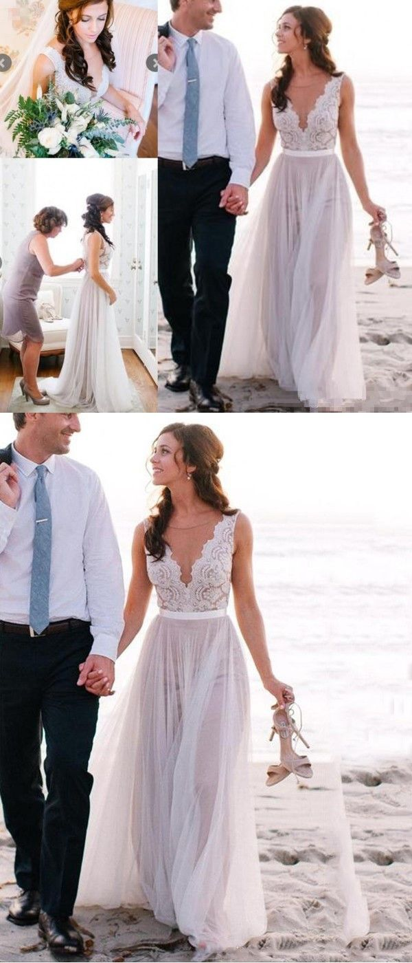Wedding decorations using tulle october 2018 ALine Round Neck Sweep Train Ivory Tulle Beach Wedding Dress in
